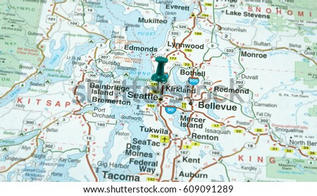 Map Seattle Washington Highlighted Green Pushpin Stock Photo (Edit ...