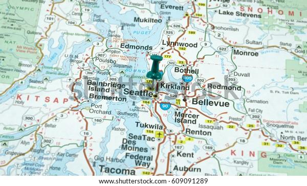 Map Seattle Washington Highlighted Green Pushpin Stock Photo ...