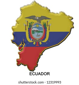 map shaped flag of Ecuador in the style of a metal pin badge