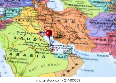 Map showing Bahrain with a map pin in Manama