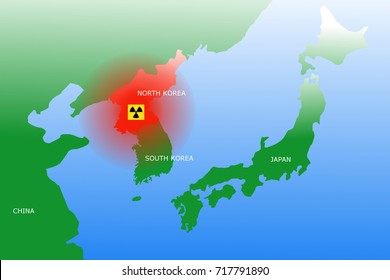 Map showing North Korea and neighboring countries Japan, China and South Korea. Radioactive or nuclear symbol on top of North Korea.