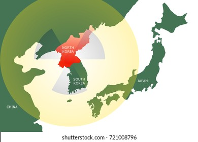 Map showing North Korea and surrounding countries such as  South Korea, Japan and China with yellow bubble with translucent radioactive symbol.