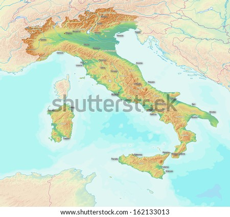 Map Of Italy With Towns.Map Showing Topography Italy Largest Towns Stock Photo Edit Now