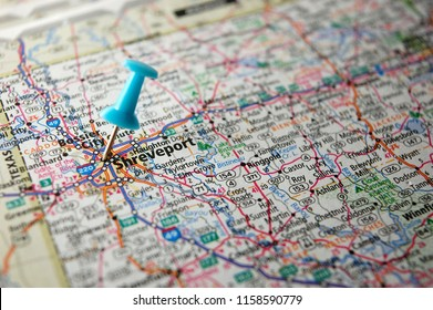 A map of Shreveport, Louisiana marked with a push pin.