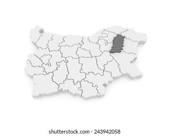 Map of Shumen Province. Bulgaria. 3d