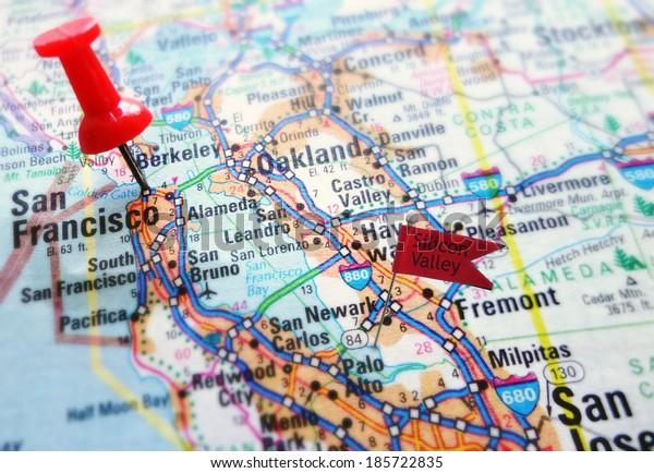 Map Silicon Valley Section California San Stock Photo Edit Now