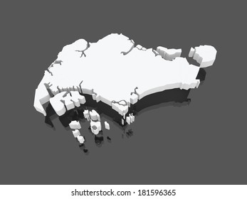 Map of Singapore. 3d