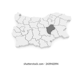 Map of Sliven Province. Bulgaria. 3d