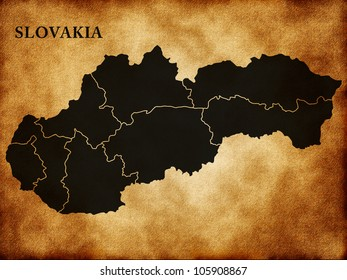 Map of Slovakia in the old style