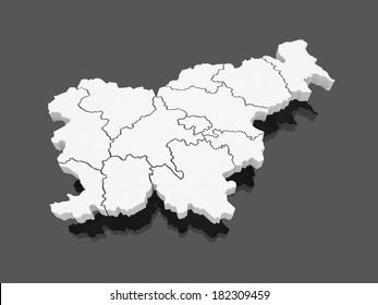 Map of Slovenia. 3d