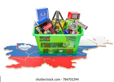 Map of Slovenia with shopping basket full of home and kitchen appliances, 3D rendering
