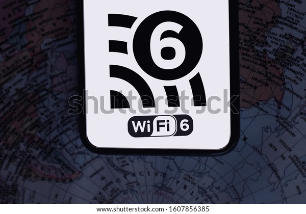 Map and smartphone with the Wifi 6 logo, is the name that receives the new standard for wireless connections. United States, California January 7, 2020