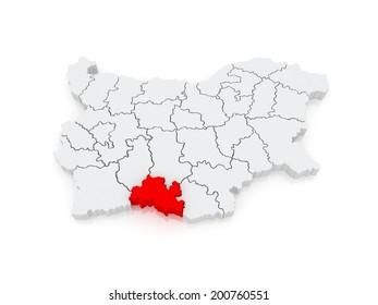 Map of Smolyan Province. Bulgaria. 3d