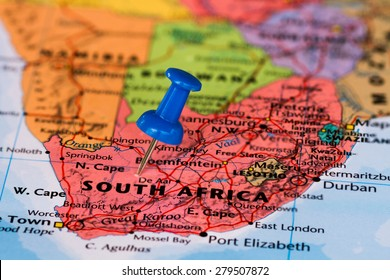Map of South Africa with a blue pushpin stuck