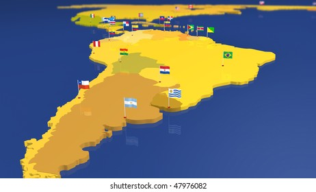 Map of South American continent. Each capital city has the national flag waving in the wind. Other continents / countries also available (see portfolio).