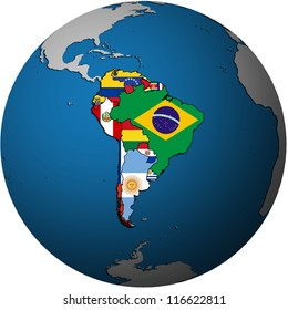 map of south american countries on isolated over white map of globe