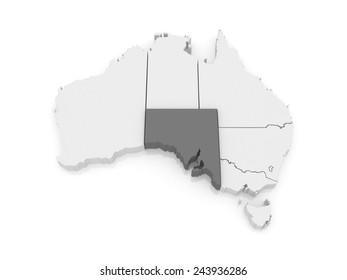 Map of South Australia. Australia. 3d