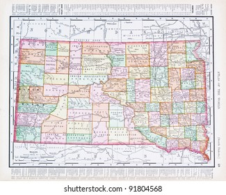 A map of South Dakota, USA from Spofford's Atlas of the World, printed in the United States in 1900, created by Rand McNally & Co.