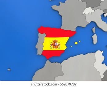 Map of Spain with embedded national flag on globe, top-down view. 3D illustration