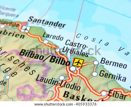 Bilbao On Map Of Spain.Map Spain Focus On Bilbao Stock Photo Edit Now 405933376