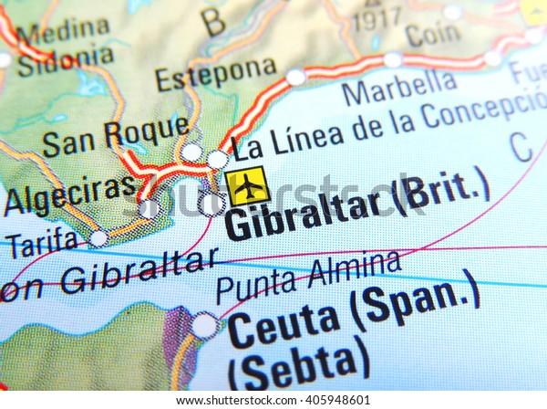 Map Of Spain Near Gibraltar.Map Spain Focus On Gibraltar Stock Photo Edit Now 405948601