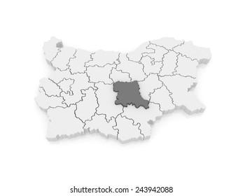 Map of Stara Zagora region. Bulgaria. 3d