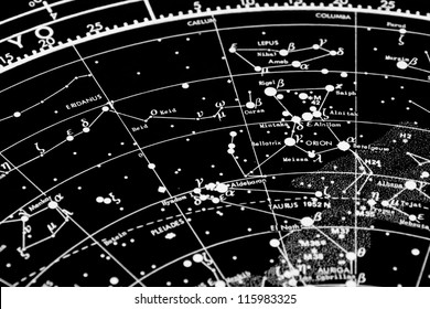 a map of the stars of the orion constellation. focus is in orion word