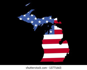 Map of the State of Michigan and American flag JPG