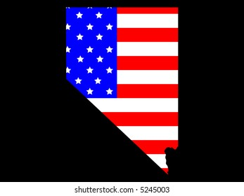 Map of the State of Nevada and American flag JPG