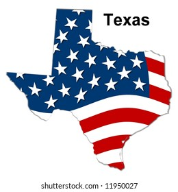 map of the state texas - american flag