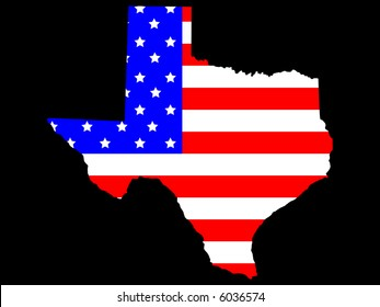 Map of the State of texas and American flag JPG