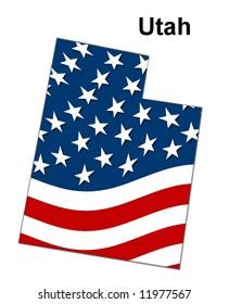 map of the state utah- american flag