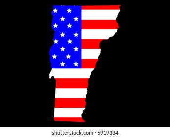 Map of the State of Vermont and American flag JPG