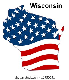 map of the state wisconsin - american flag