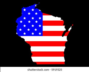 Map of the State of wisconsin and American flag JPG
