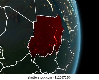 Map of Sudan in red as seen from space on planet Earth at night with white borderlines and city lights. 3D illustration. Elements of this image furnished by NASA.