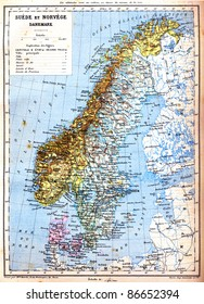 The map of Sweden, Norway and Denmark with explanation of signs on it. Old vintage map from the late 19th century, Trousset encyclopedia (1886 - 1891).