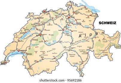 Switzerland Highly Detailed Editable Political Map Stock Photo