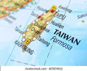 Map of Taiwan with selective focus