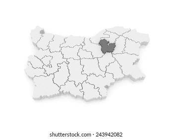 Map of Targovishte region. Bulgaria. 3d