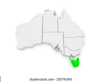 Map of Tasmania. Australia. 3d