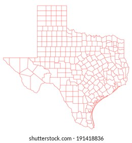 Map of Texas TX with its detailed counties.