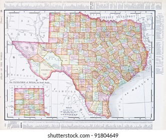 A map of Texas, USA from Spofford's Atlas of the World, printed in the United States in 1900, created by Rand McNally & Co.