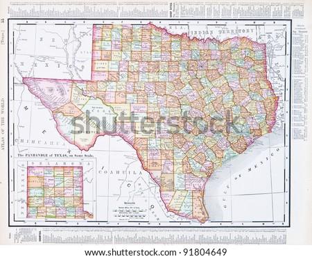 Map Texas Usa Spoffords Atlas World Stock Photo Edit Now 91804649