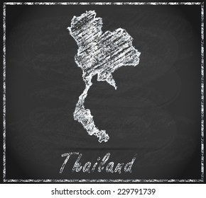 Map of Thailand as chalkboard  in Black and White