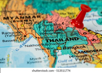 Map of  Thailand with a red pushpin stuck