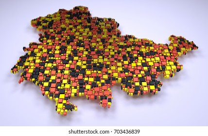 Map of Thuringia - Germany   3D mosaic of little bricks