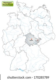 Map of Thuringia with main cities in gray