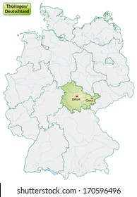 Map of Thuringia with main cities in pastel green