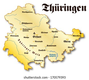 Map of Thuringia as an overview map in gold